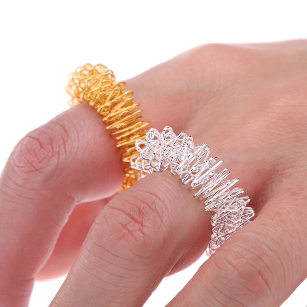 Steel Finger Massage Ring Acupuncture Ring Health Care Body Massager Sliver/Gold(China (Mainland))