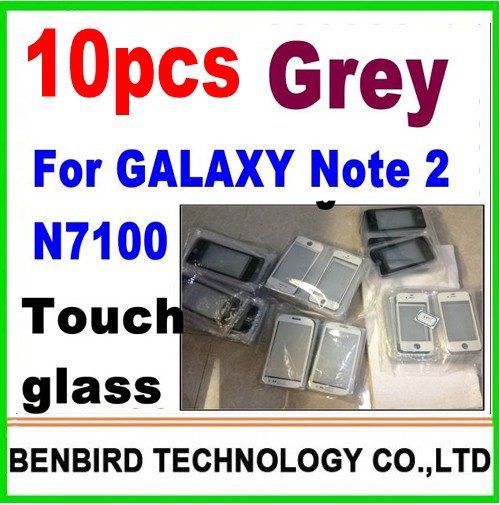 10 pcs only grey color for samsung galaxy note 2 n7100  wholesale  front glass touch lens digitizer screen glass YL5139