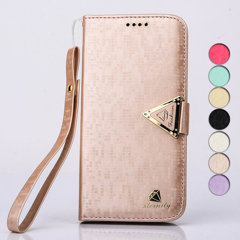 Hot Luxury Brand New Credit Card Slots + Gold Diamond Logo Flip Buckle + Hand Strap PU Leather Bag Case For Appe iphone 5 5S(China (Mainland))