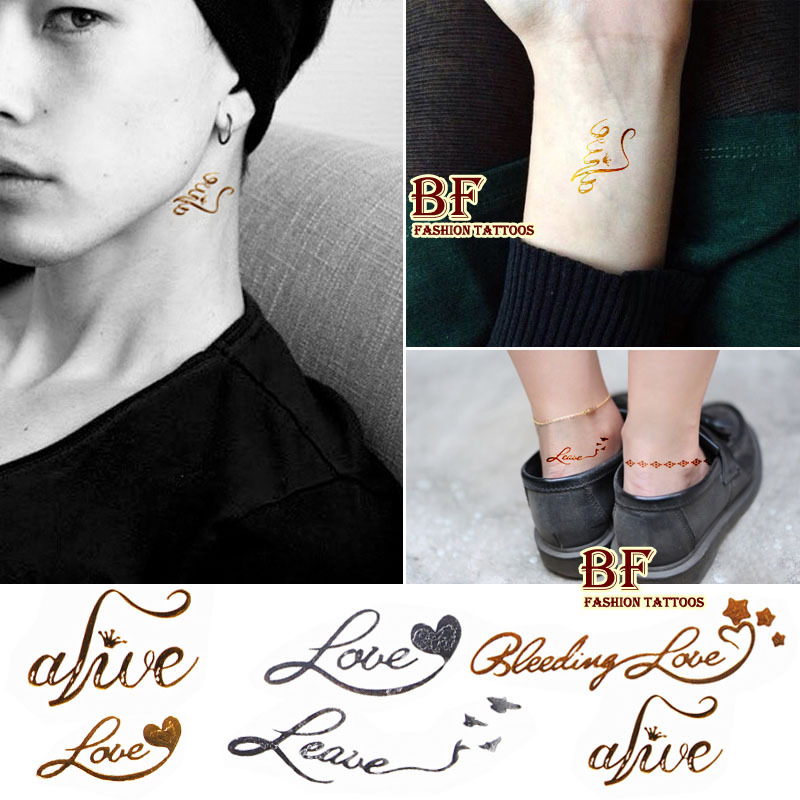 2016 new 1piece fashion sex tattoo sticker love english words metal golds tattoos golden foil metallic gold paste for women/man(China (Mainland))
