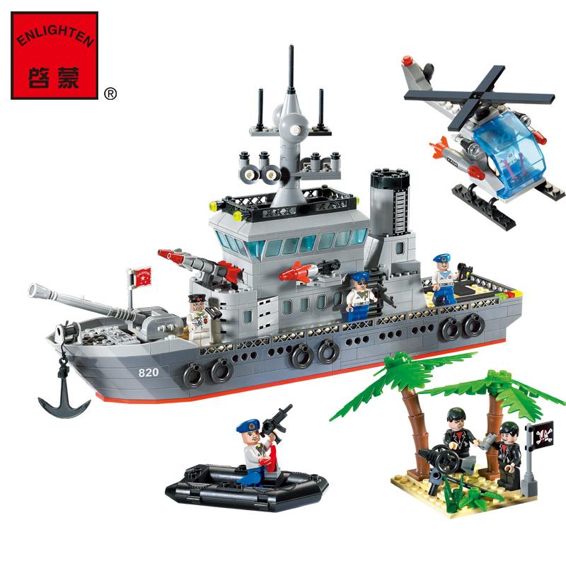 building block set compatible lego new military frigate 3D Construction Brick Educational Hobbies Toys Kids
