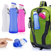 New liquid silicone Outdoor Sport Mountaineering Convenient Folding Travel Bottle Silicone Water Bottle(China (Mainland))