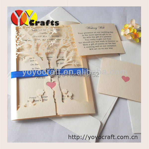 holiday supplies wedding favors laser cut wedding invitation card with envelope,insert and seal RSVP(China (Mainland))