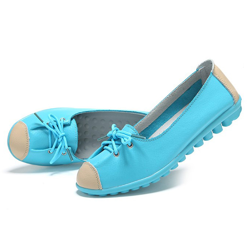 2015 cow muscle outsole leather lace up 3 candy color flats blue white yellow young girl shoes(China (Mainland))