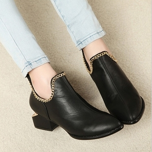 2013 fashion vintage star new arrival ankle boots chain british style small leather thick heels shoes