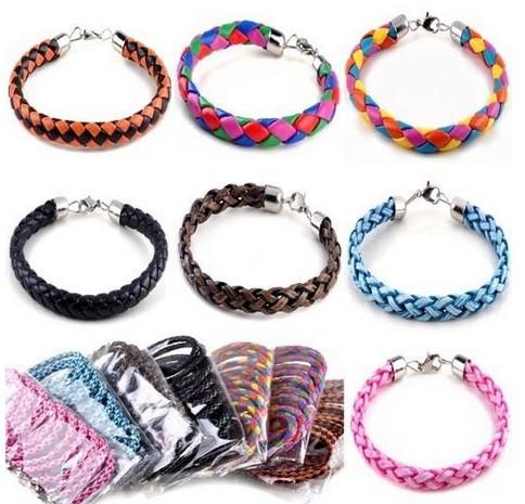 Браслет с брелоками Imixlot Fashion Hemp PU Leather Handmade Bracelet Wristband Cuff Cool Charm Bracelets Jewelry FREE SHIP B617 M