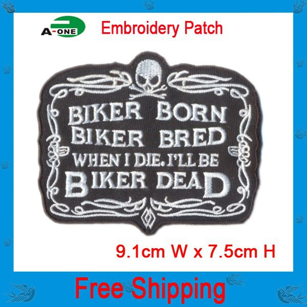 cool biker patch iron on hot cut border use in cloth hat or bag free shipping can be custom embroidery factory in china(China (Mainland))