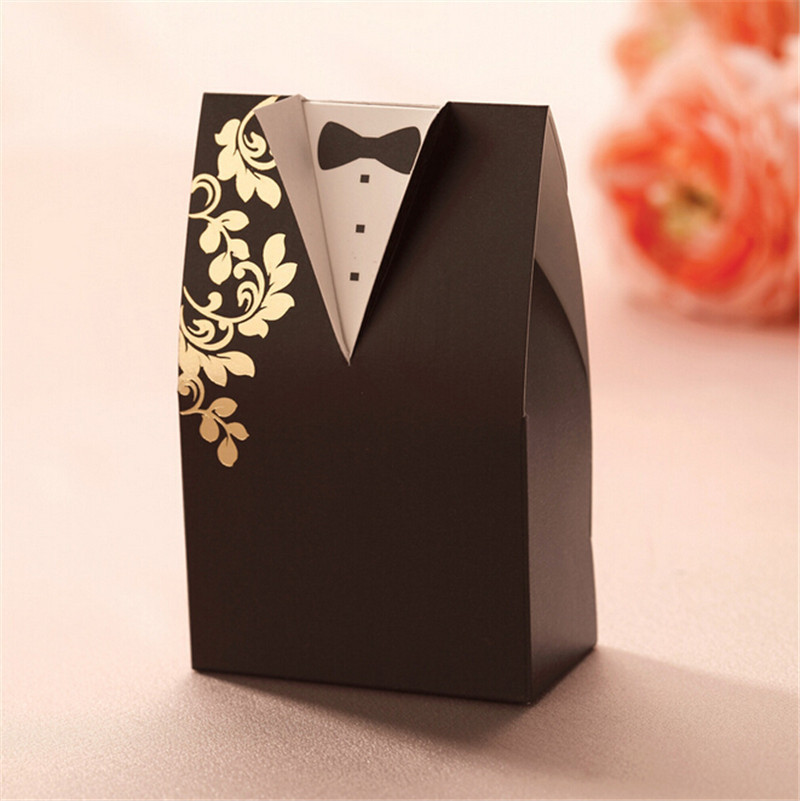 Free Shipping 50pcs Newly Popular Design Black Bridal Wedding Party Favor Gift Candy Boxes(China (Mainland))