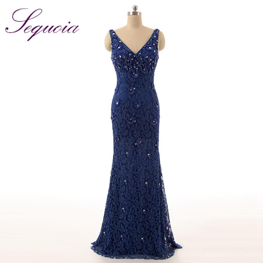 Navy blue sleeveless v neck pearls beaded long formal for Navy evening dresses for weddings