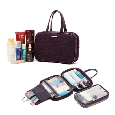 New 2015 Fashion purple Brand Cosmetic case Makeup bag large capacity outdoor hanging wash bag Toiletry Kits<br><br>Aliexpress