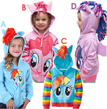 NEW 2016 My little pony girl hoodie with wings back Cartoon jacket sweatshirt for girls Spring coat with hat children clothing