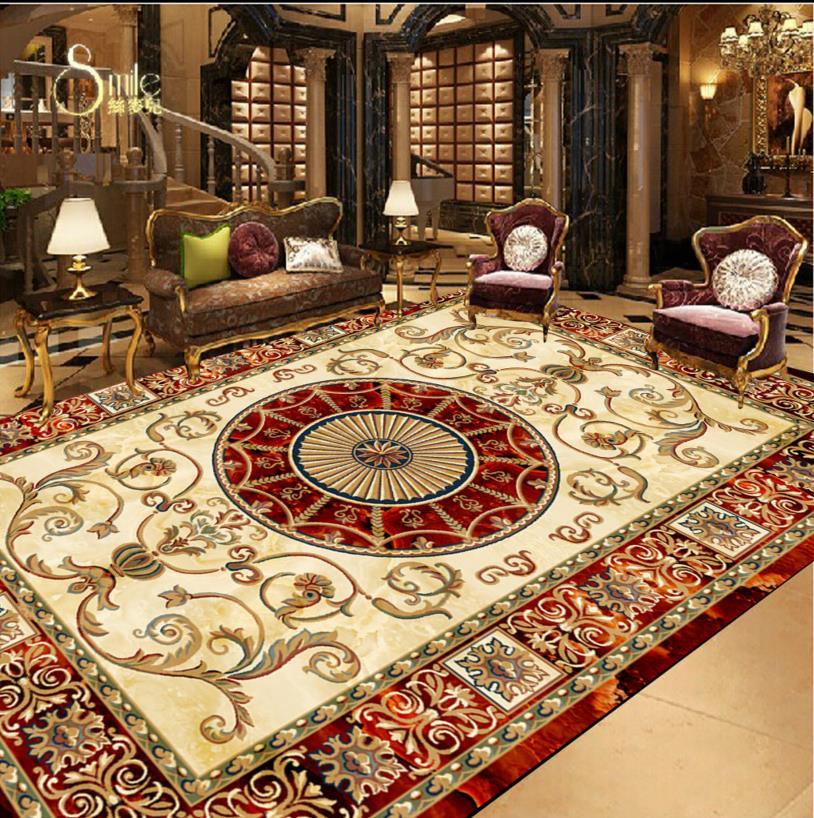 3d floor murals custom wallpaper European-style carpet design floor ceiling painting self -adhesive wallpaper(China (Mainland))