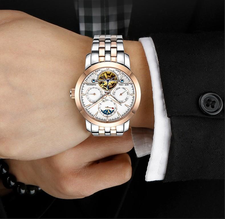Fashion tourbillon watch men Moon Phase Stainless steel Automatic mechanical Sapphire waterproof black watch relogio masculino