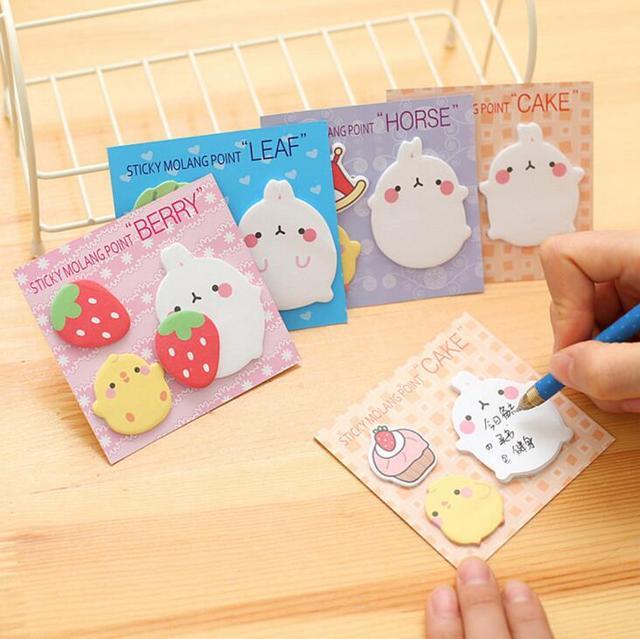 Новое Прибытие Симпатичные Molang Кролик N Раз Самоклеящиеся Memo Pad Sticky Notes Сообщение Это Закладка Школа Канцелярских товаров