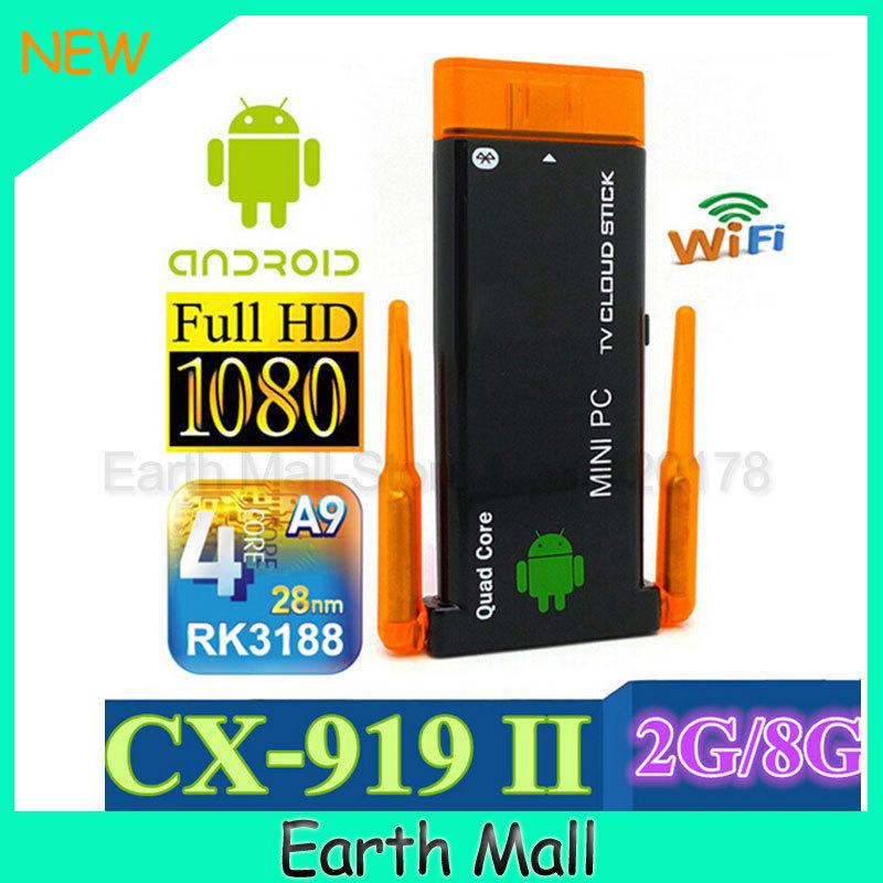 CX919 Mini pc Android 4.2 RK3188 Quad Core 2G RAM 8G ROM Built-in Bluetooth Dual External Antenna TV ( J22 ) CX-919 II 1pcs/lot(China (Mainland))