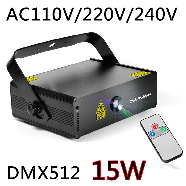 Creative 15W RGB laser 3D animation scanner projector DMX512 dance bar Xmas Party Disco DJ effect Light stage Lights Show system(China (Mainland))