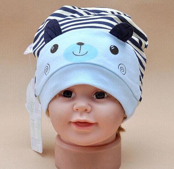 Cartoon Rabbit Stripe Baby Boy Girl Hat Cotton Newborns Cap Suit for 6-18month(China (Mainland))