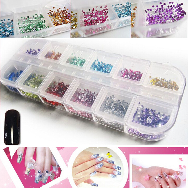 Гаджет  12 Cells 3000pcs Mix 12 Colors 2mm Round Without Glue Flatback Resin Non Hotfix Nail Rhinestones None Дом и Сад