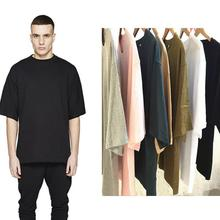 Mens Extra Long T Shirts Oversize Longline Shirt Cotton Solid Half Sleeve Mens Hip Hop Clothing Black White Gray Pink Summer