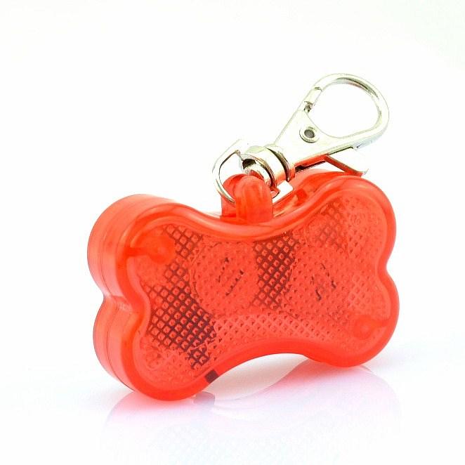 Free shipping Cute Bone Style Safety Red Flashing LED Light Pet Dog Collar Pendant Charms(China (Mainland))