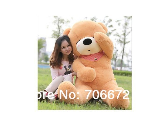 New stuffed light brown squint-eyes teddy bear Plush 180 cm Doll 70 inch Toy gift wb8314(China (Mainland))