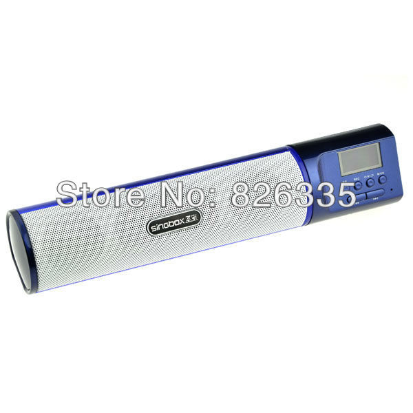 Blue Portable Screen TF Card FM Speaker Sound Amplifier Music Player Audio Box for Computer(China (Mainland))