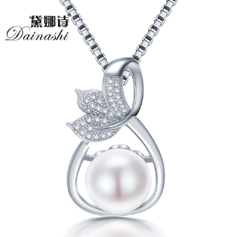 2016 Genuine AAAA Freshwater Pearl Pendant Necklace 925 Sterling Silver 18in.Necklace For Women Party Jewelry Gift With Nice Box(China (Mainland))