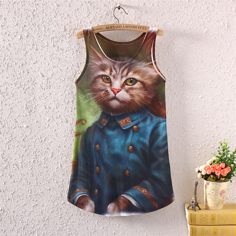 Spring summer style new 2016 cat printing lady fashion women sleeveless round neck T shirt stylish