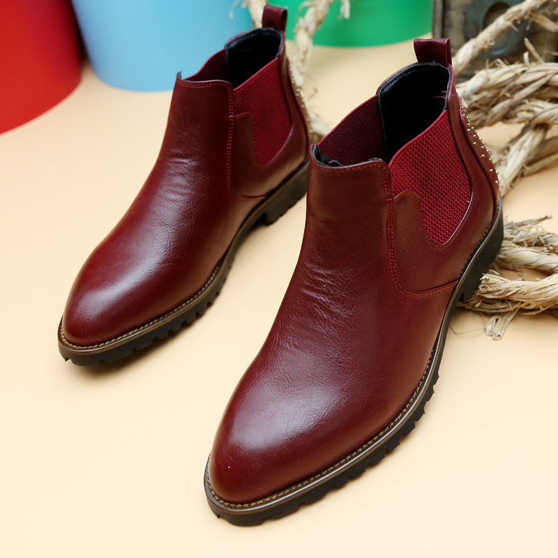 2015 Hot Slip On Genuine Leather Boots Men Bottes Fashion High Top Business Men Casual Boots Men Ankle Boots British Style