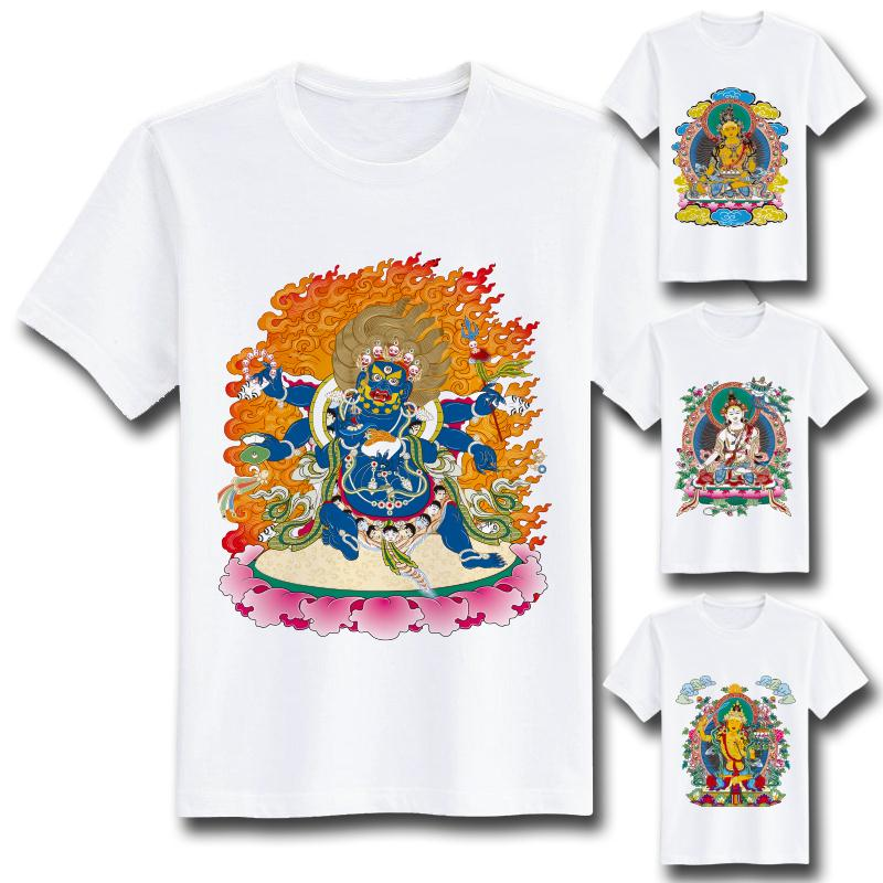 [MASCUBE TEE]Men Sports Tee Exclusive Custom tshirt Chinese Art Thangka Tibet Special Pattern Printing Tees Tops Gift For Friend(China (Mainland))