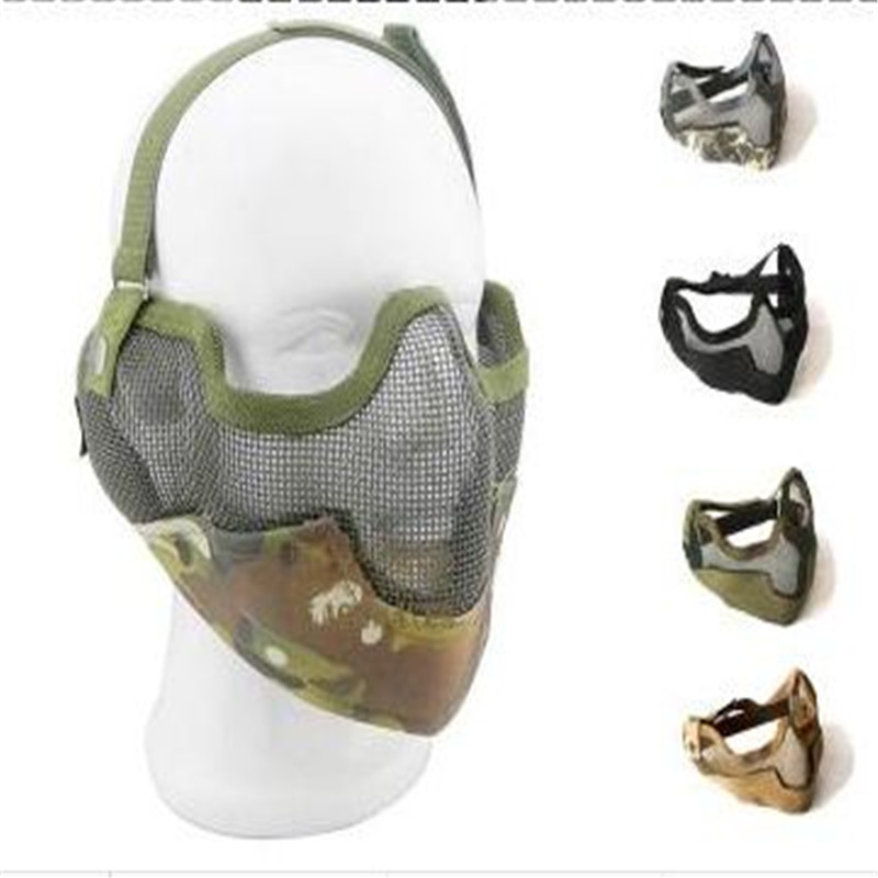 Tactics Half face metal net mesh protect mask airsoft hunting Military Multicam 10 colors available - Outdoor's Equipment store