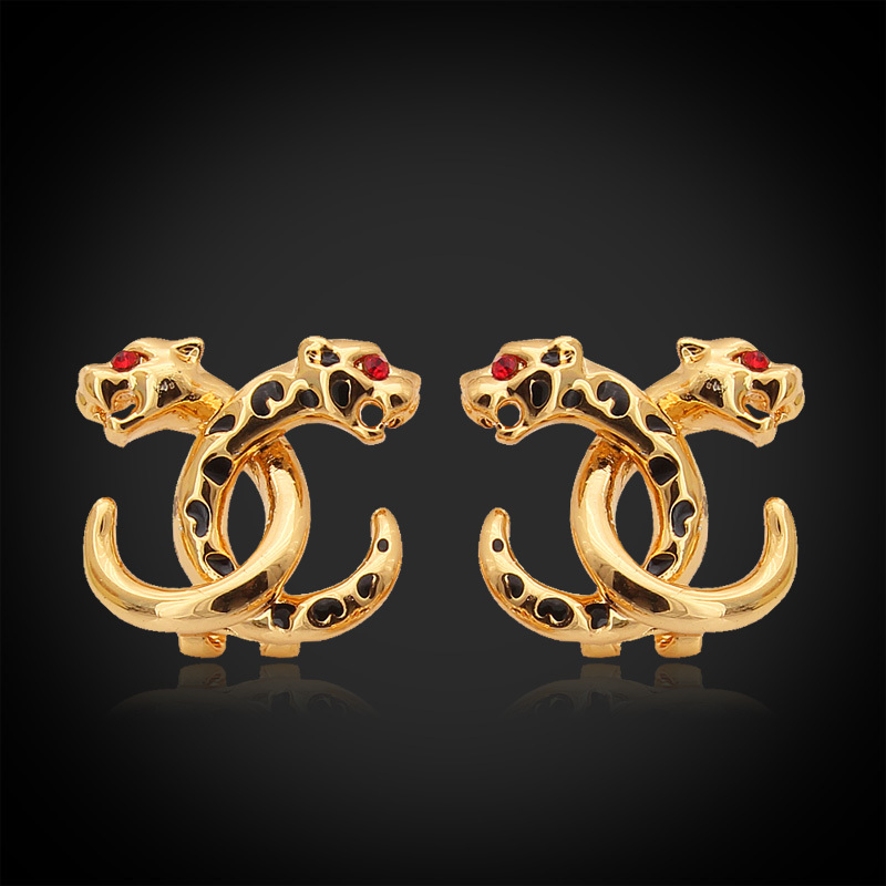 Earrings Clear Austrian Rhinestone Lion Leopard Head Snake Body 18K Gold Plated Fashion Jewelry For Women Accessories Brand E607(China (Mainland))