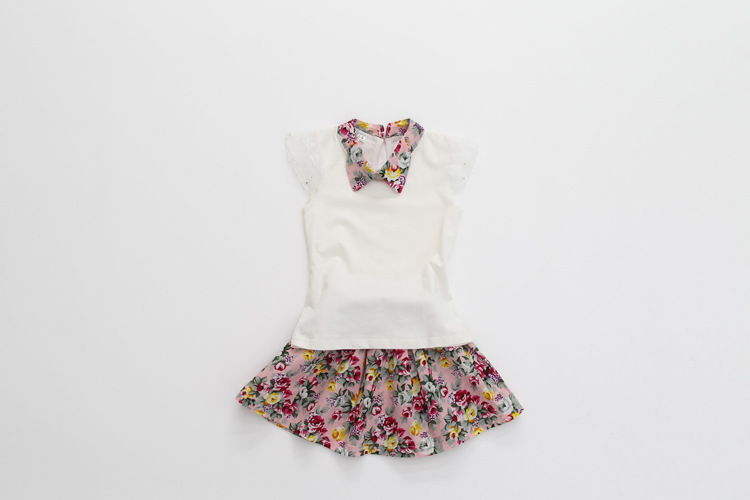 2015 kids summer clothes girls clothing sets fashion lapel sleeve shirt + small floral lace tutu skirt suit(China (Mainland))