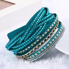 2016 New Fashion leather bracelet Punk Style Multilayer Bracelets & Bangles Rivet Bracelet For Women pulseras(China (Mainland))