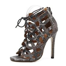Free shipping summer women's sandals 2017 new style Fashion Snake skin Hollow out high heels sandals shoes woman summer pump sho(China (Mainland))