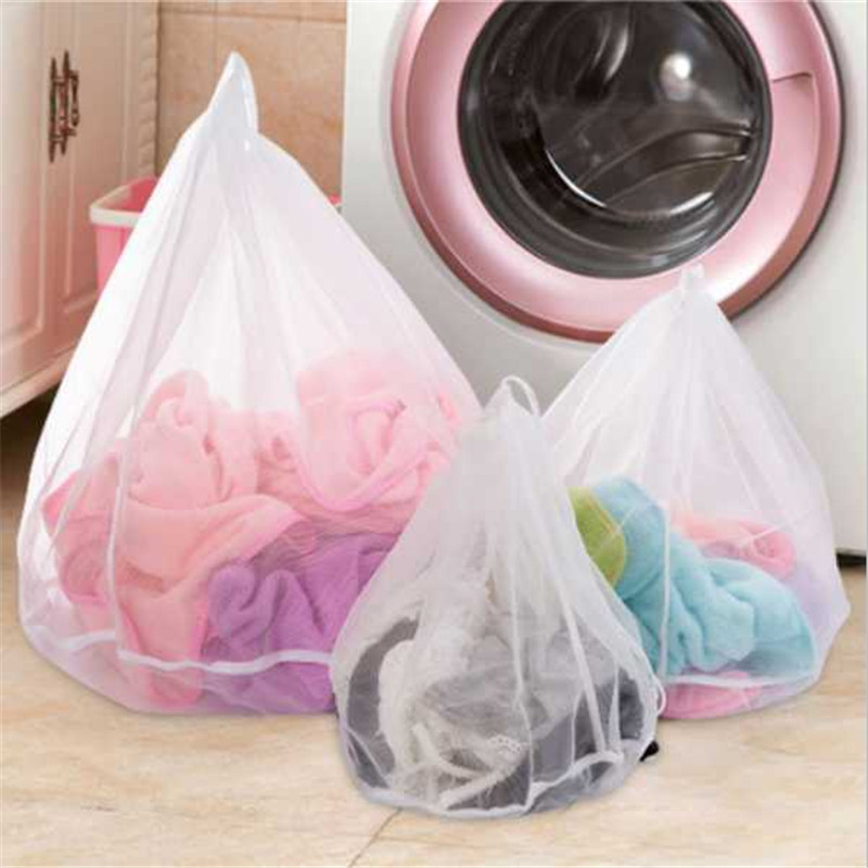 thickened drawstring bag of laundry clothes wash bag underwear bra support mesh protective net wash mesh bag L-M-S(China (Mainland))