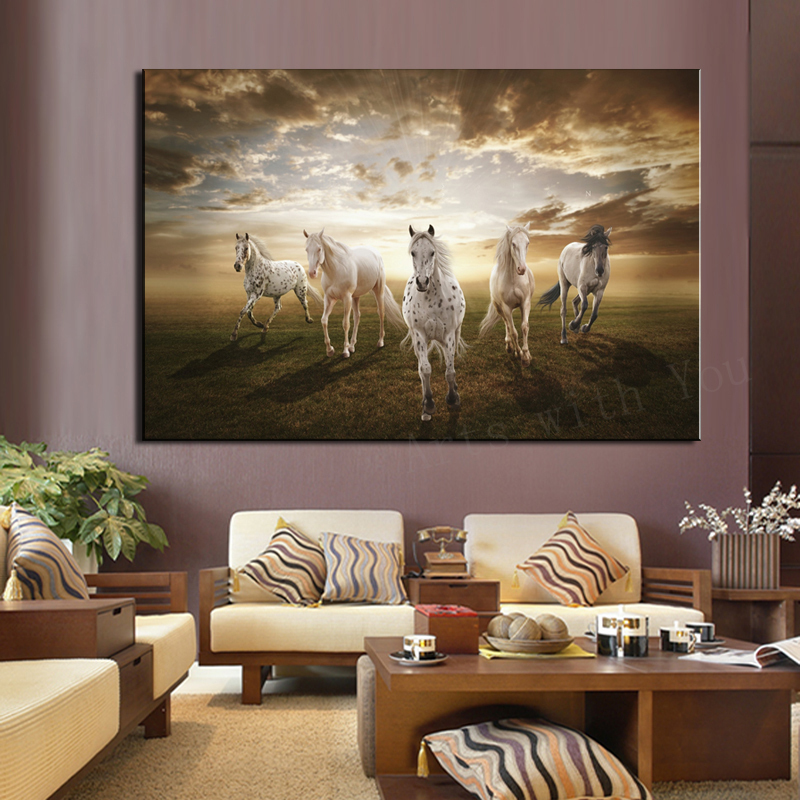 Art Painting Equipment Picture More Detailed Picture About 1 Piece Picture Running White Horse