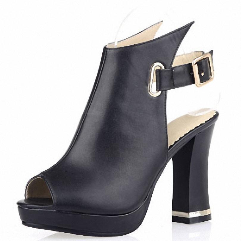 ENMAYER 2015 NEW women Sandals Solid Buckle Square heel High-heeled Sandals Gladiator Fretwork Buckle Strap Platform Sandals