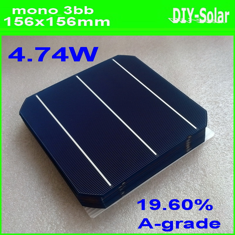 100 Pcs 4.74W High Effciency Grade A 156MM * 156MM Photovoltaic Mono Solar Cell 6x6 For Sale(China (Mainland))
