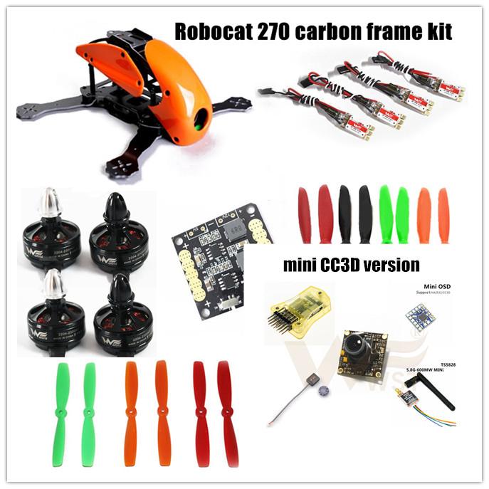 DIY Robocat 270 quadcopter frame kit R270 pure carbon frame+CC3D/NAZE 32 10DOF+ Wdiy 2204 2300KV motors+WST BL12A ESC