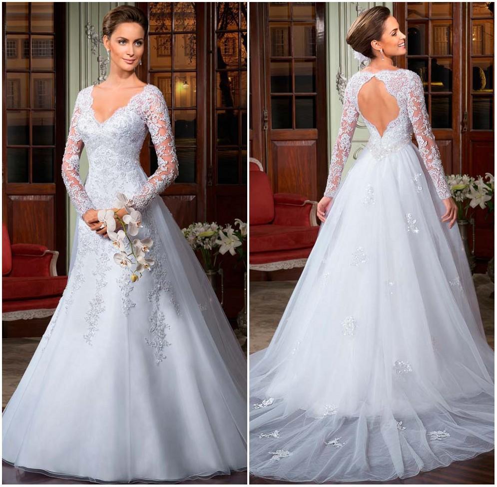 Vintage lace long sleeve wedding dresses 2015 bride gown for V neck long sleeve wedding dress