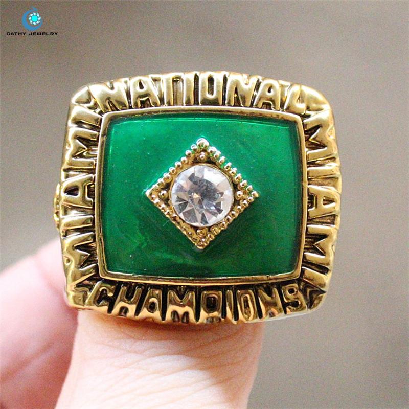 1987 Miami Hurricanes NCAA men's soccer national championship ring Green Enamal Crystal Rhinestone gold Pleated Ring Men Jewelry(China (Mainland))