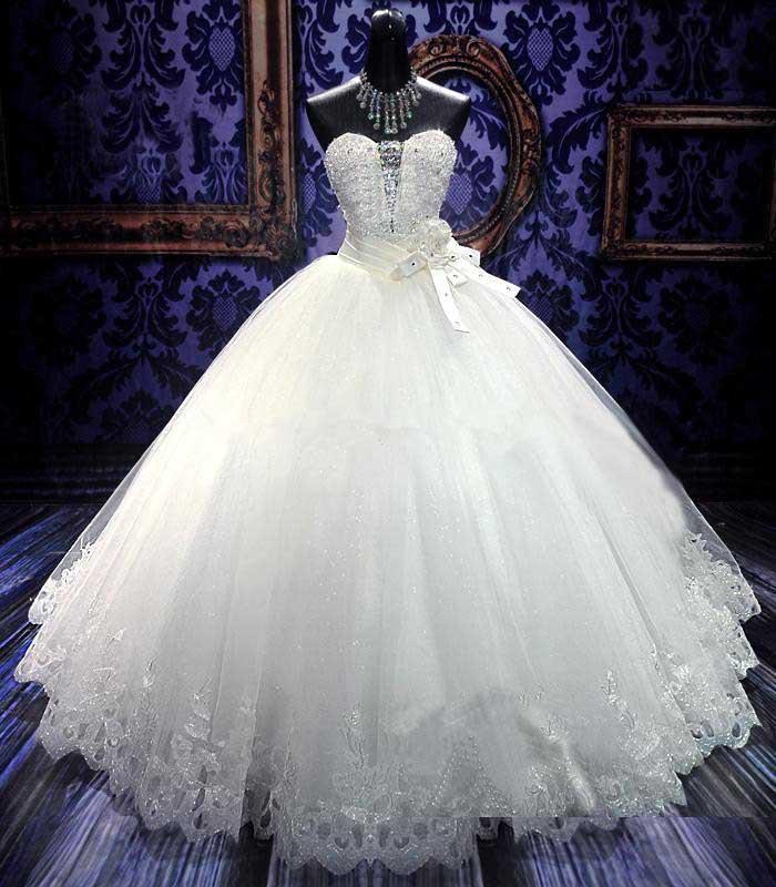 Ball gown wedding dresses elegant white princess wedding for Luxury ball gown wedding dresses