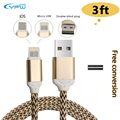 YFW 2 in 1 Charging Cable For Lightning Micro USB 3 3ft Date Sync Charge Line