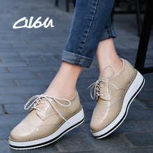 Buy O16U Women Platform Oxfords Brogue Flats Shoes Patent Leather Lace Pointed Toe Brand Female Footwear Shoes women Creepers for $20.02 in AliExpress store