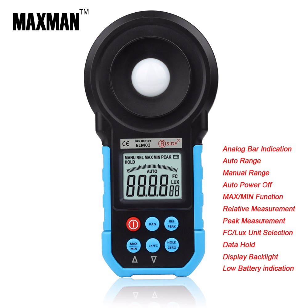 ELM02 20~200000Lux Meter Environmental Testing Equipment Handheld Digital Light Meter Illuminometer Measurement Energy meters(China (Mainland))