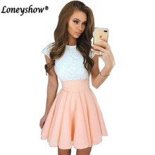 Buy Loneyshow 2017 Summer Dress Elegant Women Vestidos O-Neck Office Dress Short Sleeve Plus Size Bodycon Slim Party Lace Dresses for $7.55 in AliExpress store