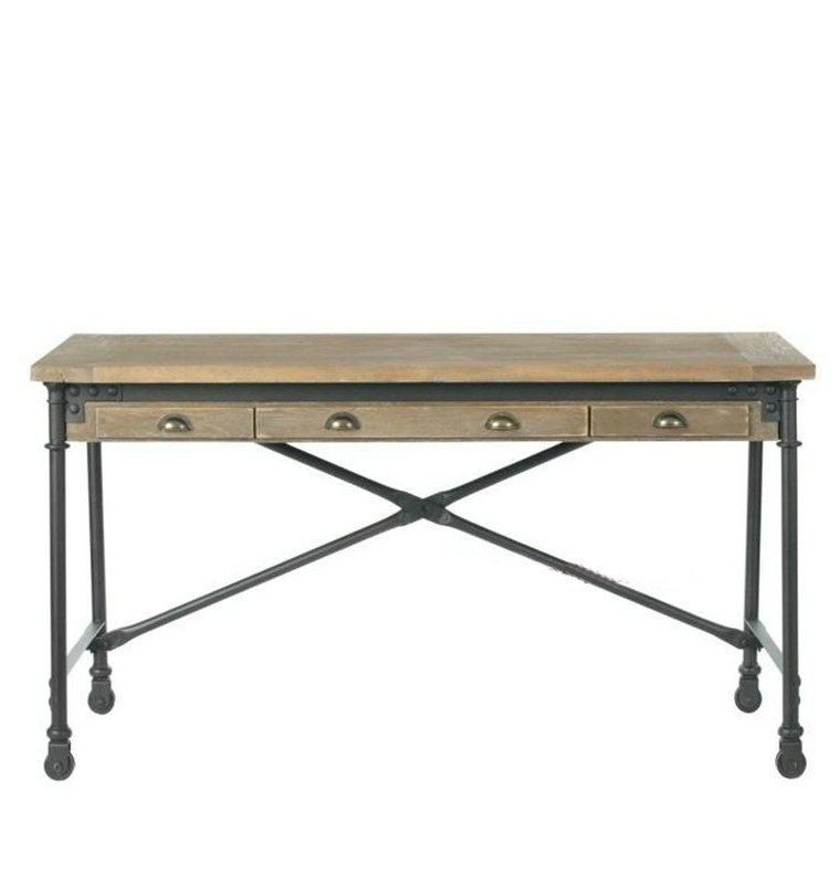 american country style wrought iron wood writing desk loft industrial vintage french country furniture desk american country wrought iron vintage desk