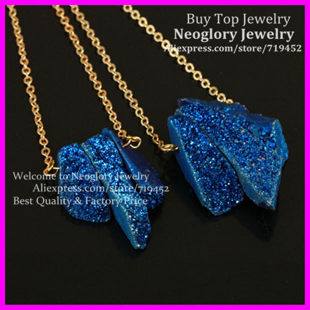 5pcs Blue Rainbow Titanium Crystal Quartz Spike Necklace Rough Electric Aura Raw Druzy Agate Gems Point Pendant Gold Brass Chain
