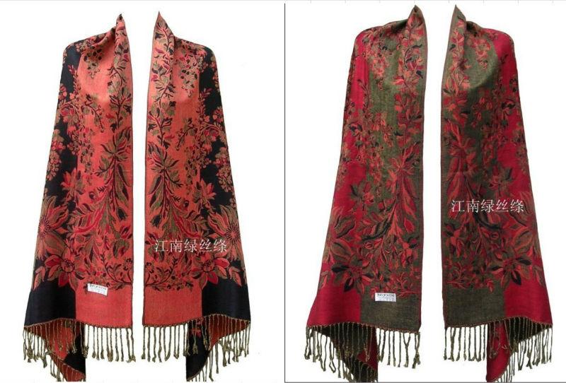 Fashion Women Lady Double Side Floral Silk Pashmina Scarf Wrap Shawl(China (Mainland))